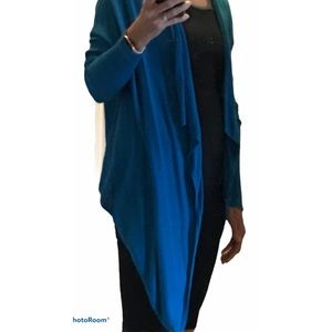 Adrianna Papell Blue Waterfall Open Cardigan
